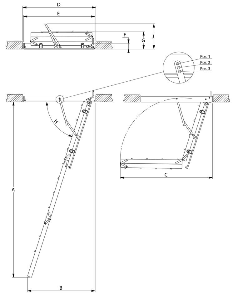 """Технічні характеристики та креслення Сходи на горище VELTA """"Економ"""""""