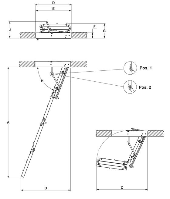 """Технічні характеристики та креслення cходи на горище Velta """"Компакт"""""""