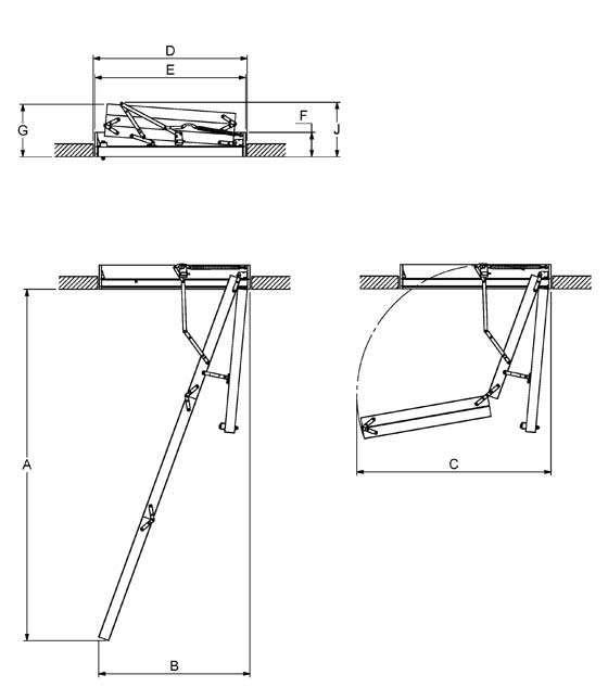 """Технічні характеристики та креслення cходи на горище Velta """"Престиж"""""""