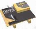 Ззовні: DELTA – FOL PVG Завдяки своїй структурі плівка забезпечує тривалий захист даху під час покрівельних робіт і є досить легким ізоляційним покриттям, маючи в порівнянні з рулонними бітумними матеріалами вагу всього лиш 210 г/м2. Ідеально підходить для покрівель з малоформатних матеріалів, які монтуються на суцільний настил.
