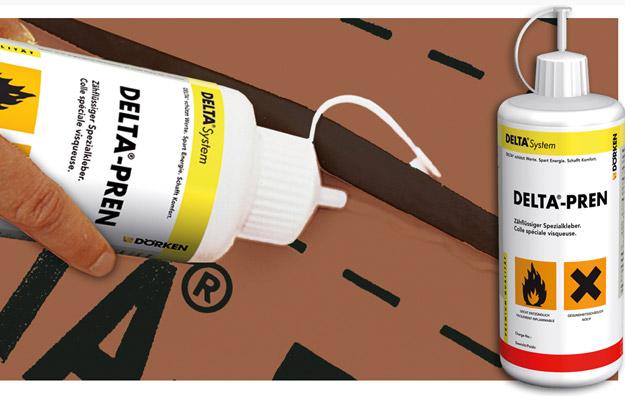 DELTA®-PREN - клей для водостійкого з'єднання рулонів в місцях нахлеста і приєднання плівок до будівельних елементів.