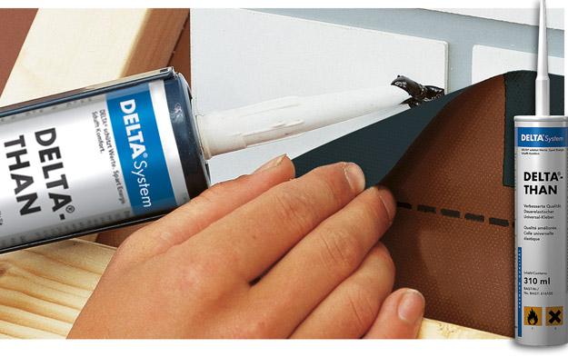 DELTA®-THAN - універсальний клей для з'єднання гідроізоляційних плівок в місцях нахлесту і примикання до конструкцій з цегли, бетону, дерева. Забезпечує водо- і повітронепроникне з'єднання.