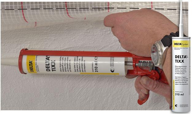 DELTA®-TIXX - Клей для приєднання пароізоляційних плівок до конструкцій з дерева, цегли і бетону.