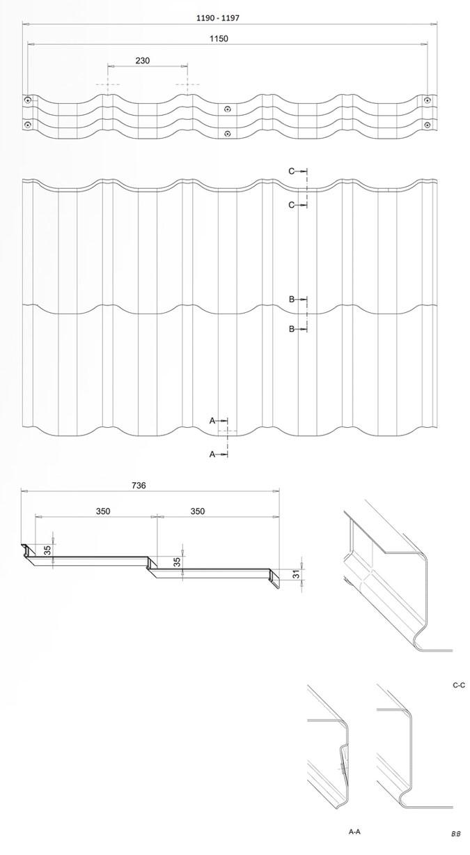 Характеристики металочерепиці Венеція (Venecja) модуль 350