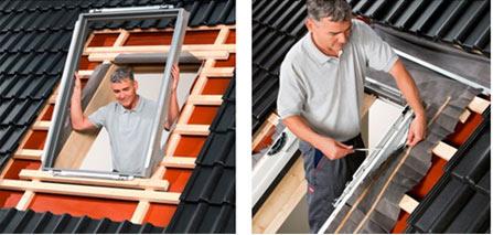 Гідро та теплоізоляція BDX 2000. Комплект BDX включає теплоізоляційну рамку для утеплення між вікном і покрівлею. Гофрований гідроізоляційний фартух BFX для герметичного з'єднання вікна з гідроізоляцією покрівлі. Дренажний жолоб відводить від вікна воду, яка може потрапити під покрівлю.