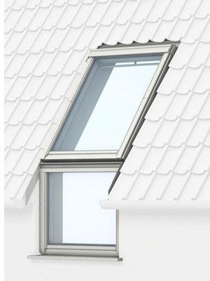 Вертикальні віконні елементи VELUX VFE (виготовлений із сосни, вкритої прозорим або білим лаком) і VIU (поліуретанове покриття).