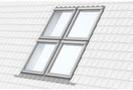 Комбінація з чотирьох мансардних вікон VELUX.