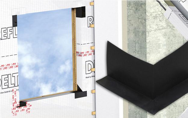 DELTA®-FAS CORNER - пластична деталь DELTA®-FAS CORNER є ідеальним рішенням для герметизації віконних і дверних прорізів в каркасних будинках