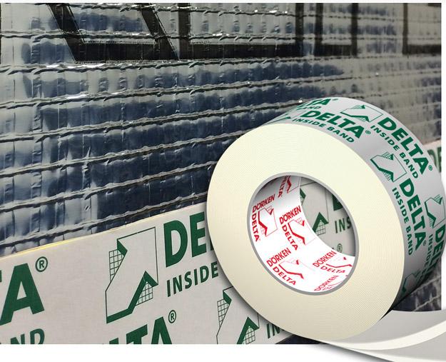 DELTA®-INSIDE-BAND - Одностороння сполучна стрічка шириною 60 мм для проклейки нахлестів пароізоляційних плівок.