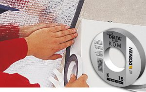 DELTA®-KOM-BAND K 15 - ущільнювальна саморозширюється і самоклейка стрічка для виконання повітронепроникних примикань до стін всіх пароізоляційних плівок DELTA®.