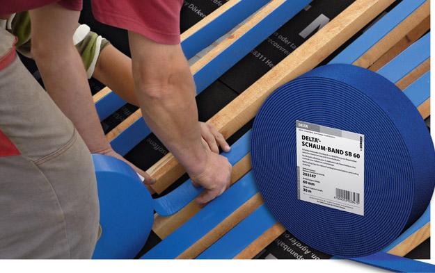 DELTA®-SCHAUM-BAND SB 60 - ущільнювальна стрічка, що самаклеїться для захисту кроквяних ніг або суцільного настилу від проникнення дощової і талої води через місця кріплення контробрешетування цвяхами.