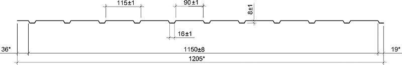 Технічні характеристики профнастил НС-8