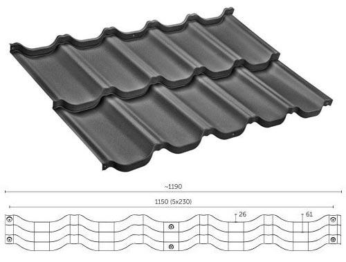 Технічні характеристики модульної металочерепиці VENECJA