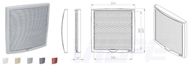 Зовнішня вентиляційна решітка 375x375 мм універсального призначення