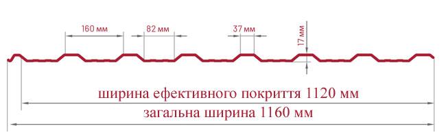 Трапецієвидний лист Bratex Т-18 креслення