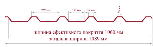 Трапецієвидний лист Bratex Т-35 креслення