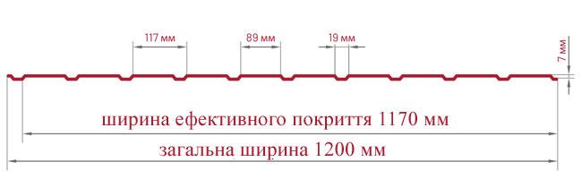 Трапецієвидний лист Bratex Т-8 креслення