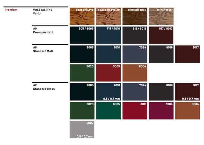 Варіанти кольорової матриці матеріалів Bratex